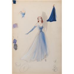 Moira Shearer 'Paula Woodward' costume sketch by Helen Rose for The Story of Three Loves.