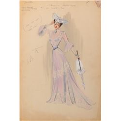 Betta St. John 'Princess Johanna' costume sketch by Helen Rose for The Student Prince.