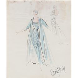 Edith Head sketch for Grace Kelly's ice blue Academy Awards gown and LIFE Magazine cover shoot.