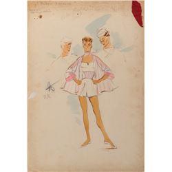 Debbie Reynolds 'Carol Pace' costume sketch by Helen Rose for Hit the Deck.