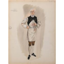 George Sanders 'Dr. Odell' costume sketch by Walter Plunkett for The Scarlet Coat.