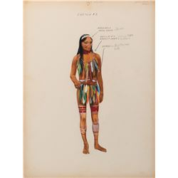 Green Mansions collection of (11) Amazonian native costume sketches by Dorothy Jeakins.