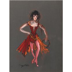 The Wonderful World of the Brothers Grimm collection of (5) costume sketches by Mary Wills.