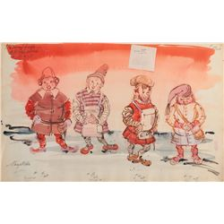The Wonderful World of the Brothers Grimm collection of (3) costume sketches by Mary Wills.
