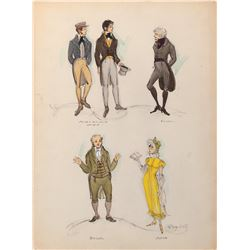 The Wonderful World of the Brothers Grimm collection of (4) costume sketches by Mary Wills.