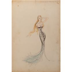 Esther Williams (3) swimsuit and mermaid sketches with 1-attributed to designers Kay Dean and Irene.