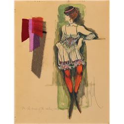 'Saloon girl' costume sketch by Donfeld for The Great Race inscribed to Mina Mittelman by Donfeld.