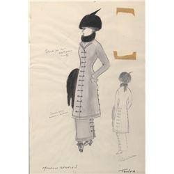 Geraldine Chaplin 'Tonya' (2) costume sketches by Phyllis Dalton for Doctor Zhivago.