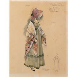 Julie Andrews 'Jerusha Bromley' costume sketch by Dorothy Jeakins for Hawaii.
