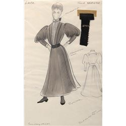 Julie Christie 'Lara' costume sketch by Phyllis Dalton for Doctor Zhivago.