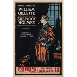 William Gillette 'Sherlock Holmes' window card for his 'Farewell to the Stage'  of Sherlock Holmes.