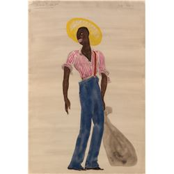 Paul Robeson 'Joe' costume sketch by Doris Zinkeisen for Show Boat.