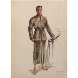 Rex Harrison 'King Mongkut' costume sketch by Bonnie Cashin for Anna and the King of Siam.