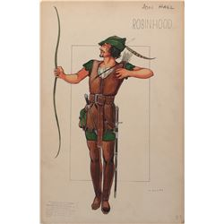 Jon Hall 'Robin Hood' costume sketch by Valles for The Prince of Thieves.
