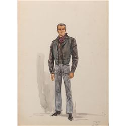 Alan Ladd 'Shane' costume sketch attributed to Edith Head for Shane.