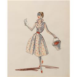 Audrey Hepburn 'Princess Ann' costume sketch by Edith Head for Roman Holiday.