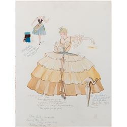 Betty Grable 'Cinderella' costume sketch by Kate Drain for Shower of Stars.