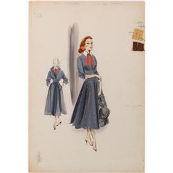 Susan Hayward 'Lillian Roth' costume sketch by Helen Rose for I'll Cry Tomorrow.