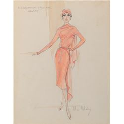 Elizabeth Taylor 'Leslie Benedict' costume sketch by Moss Mabry for Giant.