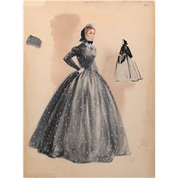Agnes Moorehead 'Ellen Shawnessy' costume sketch by Walter Plunkett for Raintree County.