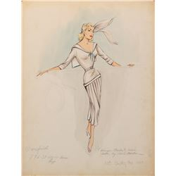 Jayne Mansfield 'Rita Marlowe' costume sketch by Charles LeMaire for Will Success Spoil Rock Hunter?