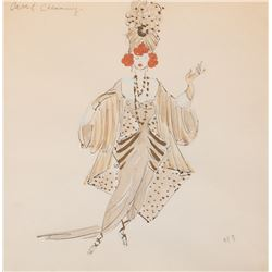 Carol Channing 'Performer' costume sketch for costume designer Miles White for the  play Show Girl.