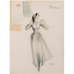 Audrey Hepburn 'Rachel Zachary' costume sketch by Dorothy Jeakins for The Unforgiven.