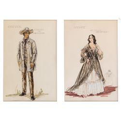 The Comancheros (2) sketches with 1-John Wayne 'Capt. Jake Cutter' & 1-'Gypsy'   by Marjorie Best.
