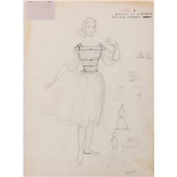 Dorothy Jeakins (2) costume sketches including 1- for The Sound of Music and 1- for Carousel.