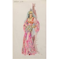 Marjorie Best 'Herod's Wife' costume sketch for The Greatest Story Ever Told.