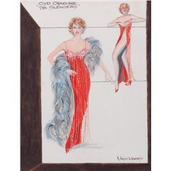 Cyd Charisse 'Sarita' costume sketch by Moss Mabry for The Silencers.