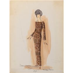 Dionne Warwick costume sketch by Michael Travis for an Oscar appearance to sing the song from Alfie.