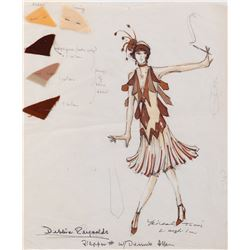 Debbie Reynolds 'Flapper' costume sketch by Michael Travis for Rowan & Martin's Laugh-In.