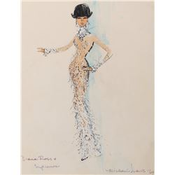 Diana Ross costume sketch by Michael Travis for Diana Ross and the Supremes.