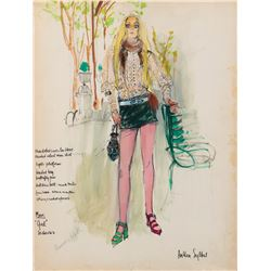 Genevieve Waite 'Girl' costume sketch by Anthea Sylbert for Move.