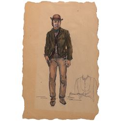 Frank Sinatra 'Dingus Billy Magee' costume sketch by Yvonne Wood for Dirty Dingus Magee.