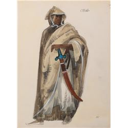 James Earl Jones 'Othello' costume sketch by Dorothy Jeakins for the stage play Othello.