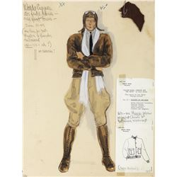 Robert Redford 'Waldo' (2) costume sketches by R. Hopper for Edith Head for The Great Waldo Pepper.