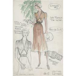 Lee Remick 'Leslie Crosbie' costume sketch by Donald Brooks for The Letter.