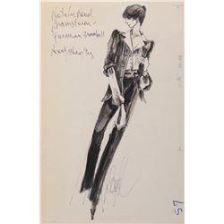 Natalie Wood 'Karen Brace' costume sketch by Donfeld for Brainstorm.