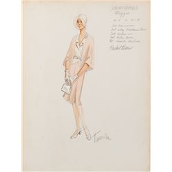 Rachel Ward 'Meggie Cleary' costume sketch by Travilla for The Thorn Birds.