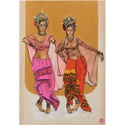 Collection of (25+) costume sketches for stage and screen by Theadora Van Runkle, and others.