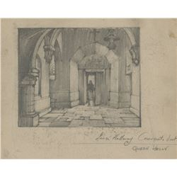 Queen Kelly set design sketch attributed to Harold Miles.