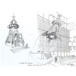 Willy Wonka and the Chocolate Factory original concept sketch of the 'Wonkavator' by Harper Goff.