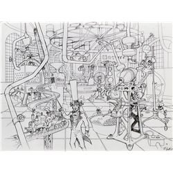 Willy Wonka and the Chocolate Factory concept sketch of Wonka's Factory interior by Harper Goff.