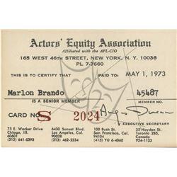 Marlon Brando personal Actors Equity Association union card.