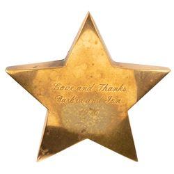 Barbra Streisand engraved A Star is Born brass star crew gift and (3) LP box set.