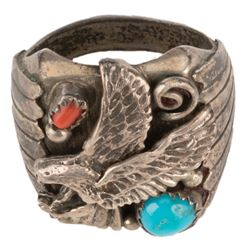 Jeff Goldblum 'Ian Malcolm' signature silver eagle ring from Jurassic Park.