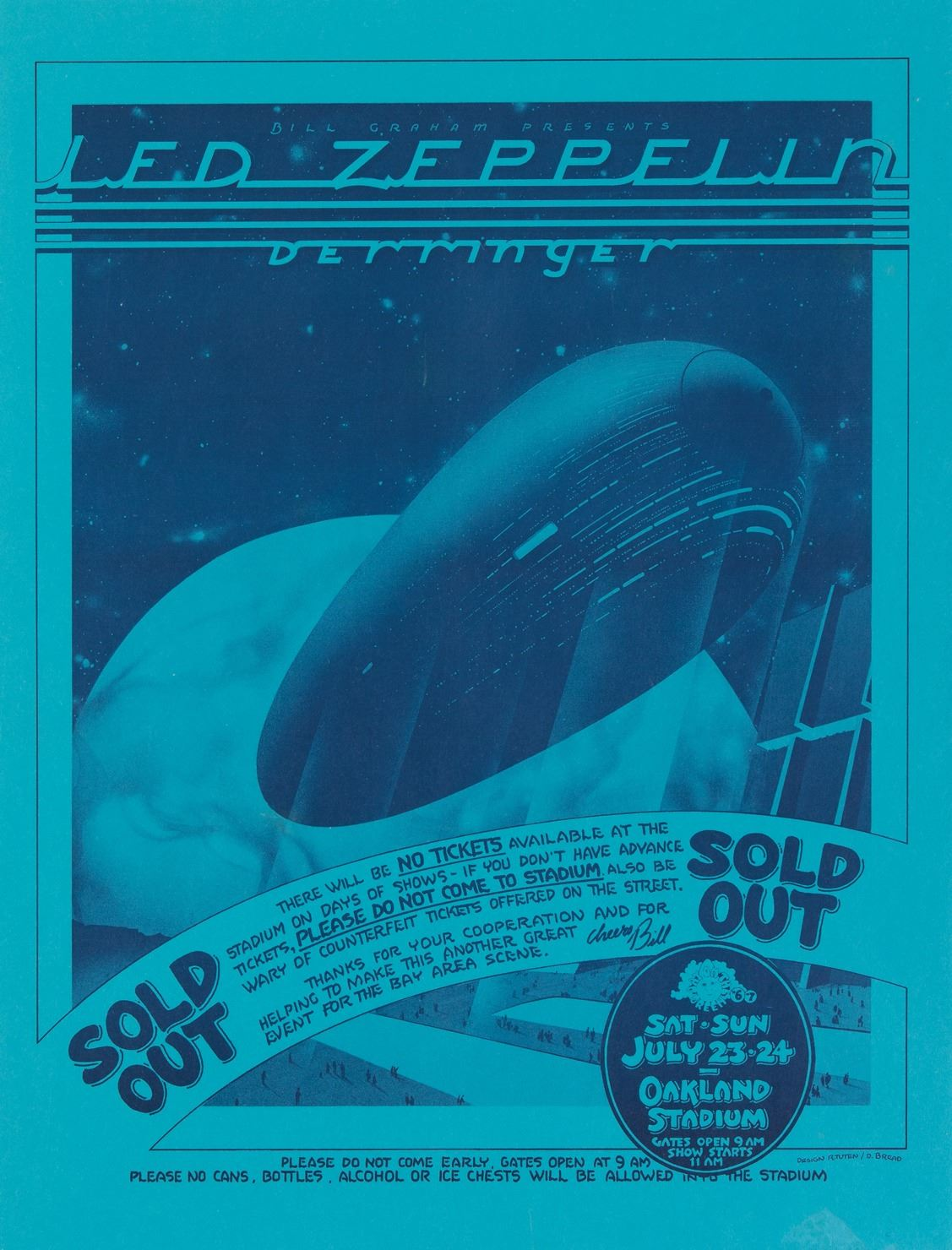 Led Zeppelin 1971 English Electric Magic Tour Poster Plus 1977 Oakland Sold Out Concert Poster