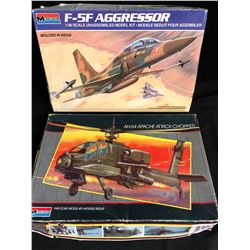 MONOGRAM UNASSEMBLED MODEL KIT LOT (F-5F AGGRESSOR 1:48 SCALE/ AH-64 APACHE ATTACK CHOPPER)